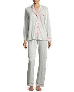 Bella Striped Pajama Set, Heather Gray/Pink