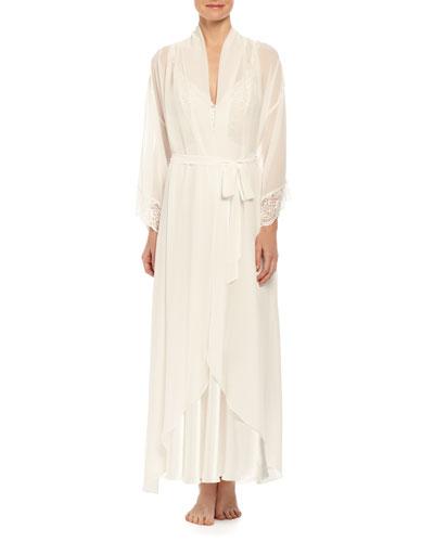 Caroline Lace-Trimmed Chiffon Robe, Ivory