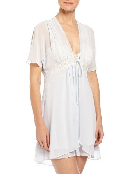 Caroline Chiffon Short Robe, Blue Mist