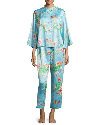 Magnolia Mandarin Printed Satin Pajama Set, Sky Blue