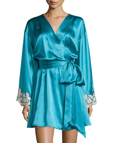 Maison Lace-Trim Short Robe, Turquoise