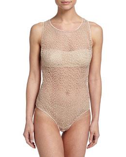 Macrame Lace Art Sheer Zip Bodysuit, Nude