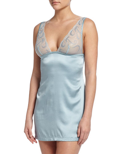 Clio Lace-Bodice Silk Chemise, Light Blue