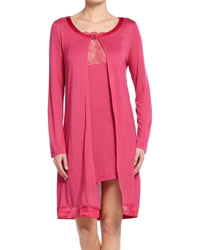 Iris Long-Sleeve Short Robe, Iris Pink