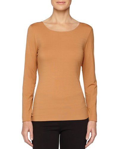 Pure Long-Sleeve Pullover Top, Croissant