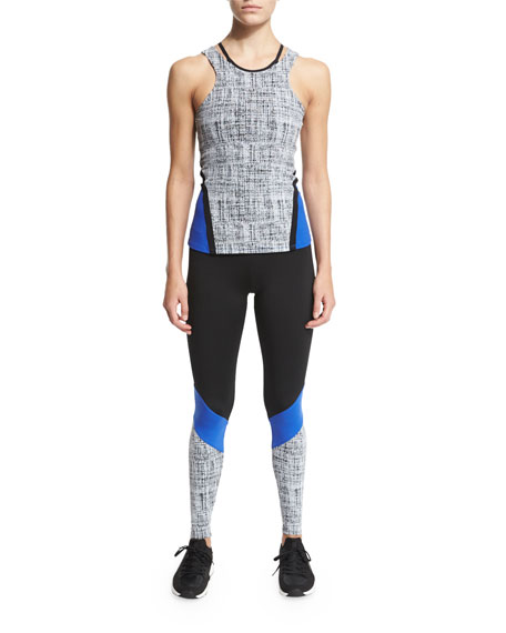 Colorblock Cycling Leggings, Black/Cobalt/Chalk