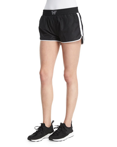 Logo-Front Mesh Training Shorts W/Stripe, Black/White