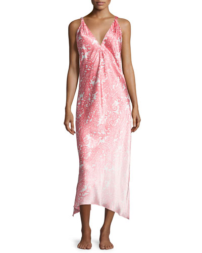 Regal Paisley Satin Charmeuse Sleeveless Gown, Pink
