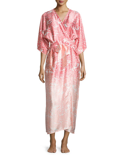 Regal Paisley Satin Charmeuse Wrap Robe, Pink