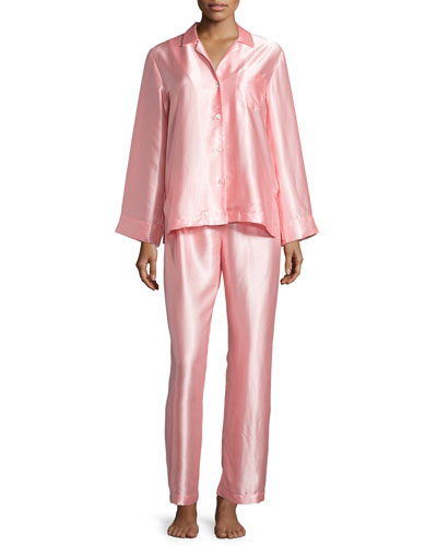Long-Sleeve Charmeuse Pajama Set, Pink