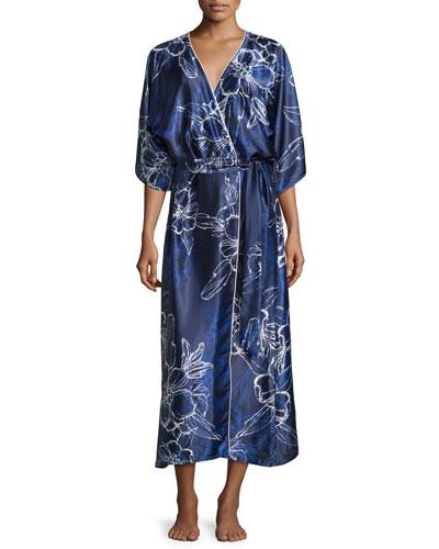 Floral Satin Charmeuse Wrap Robe, Blue