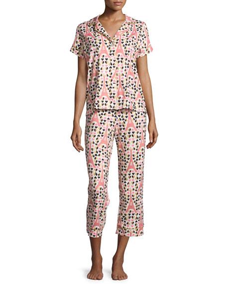 Eiffel Hearts Short-Sleeve Cropped Pajama Set, Pink