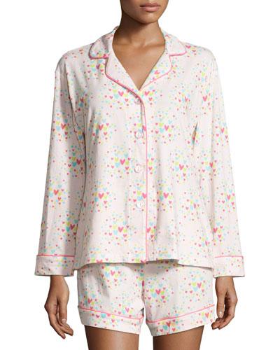 Confetti Hearts Long-Sleeve Shorty Pajama Set, Pink