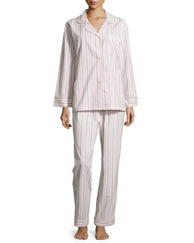 Railroad-Stripe Long-Sleeve Classic Cotton Pajama Set