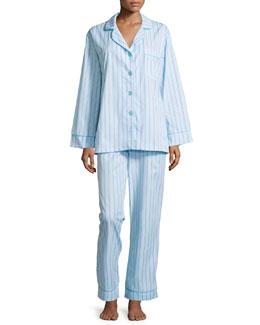 Striped Classic Poplin Pajama Set, Turquoise