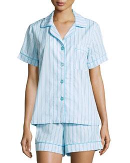 Striped Shorty Pajama Set, Turquoise
