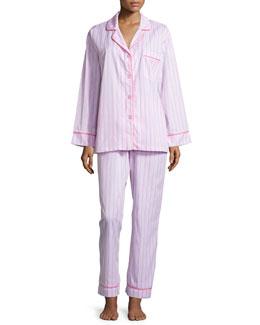 Striped Classic Poplin Pajama Set, Pink