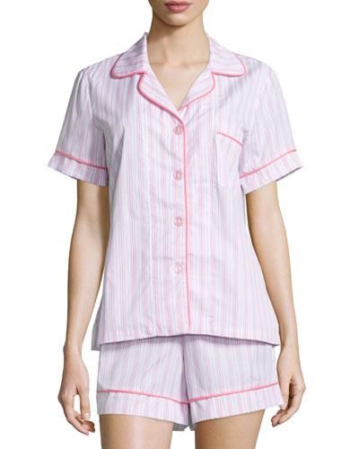 Striped Shorty Pajama Set, Pink