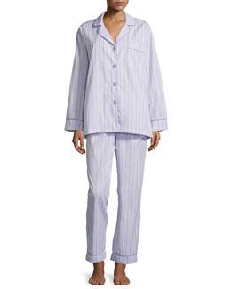 Striped Classic Poplin Pajama Set, Lavender