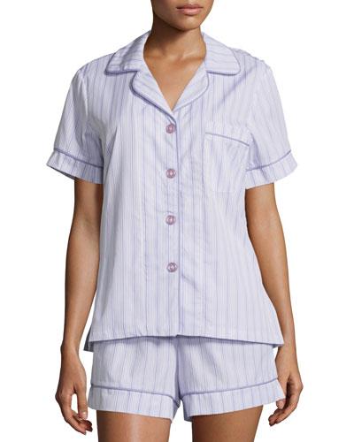 Striped Shorty Pajama Set, Lavender