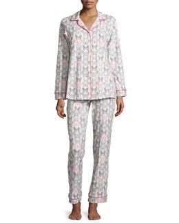 Butterfly-Print Classic Pajama Set, Black/Pink