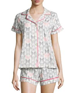 Butterfly-Print Shorty Pajama Set, Black/Pink