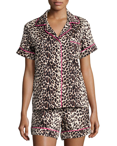 Wild Thing Printed Shorty Pajama Set, Leopard