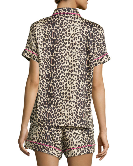 Wild Thing Printed Shorty Pajama Set, Leopard, Plus Size