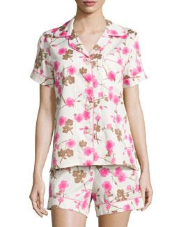 Cherry Blossom Printed Shorty Pajama Set