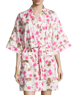 Cherry Blossom Printed Kimono Robe