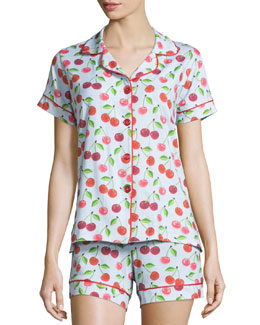 Sweet Cherry Printed Shorty Pajama Set