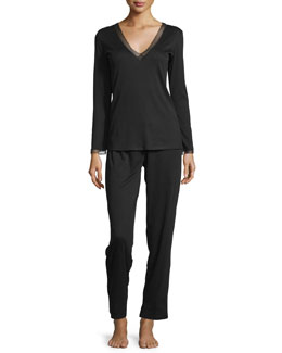 Aria Ribbed Knit Pajama Set, Black