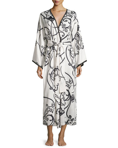 Selis Long Robe, Black/Ivory