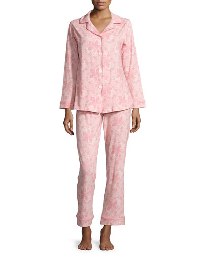 Lace-Print Long-Sleeve Classic Pajama Set, Coral