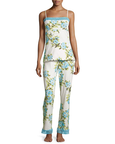 Hibiscus-Print Cami Long Pajama Set, Blue