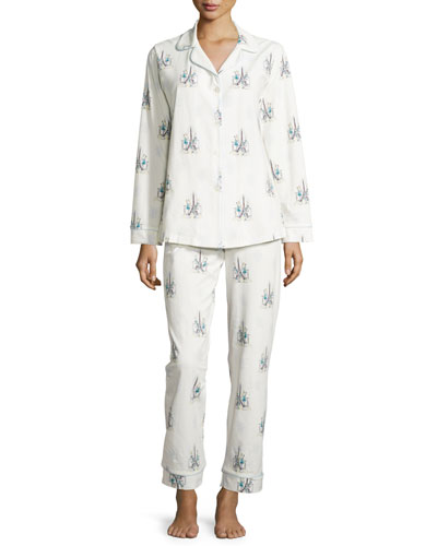 Cocktails In Paris Printed Pajama Set