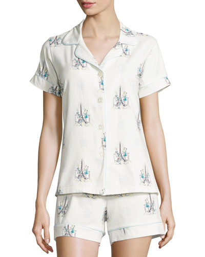 Cocktails In Paris Printed Short Pajama Set