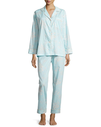 Floral-Print Voile Pajama Set, Blue
