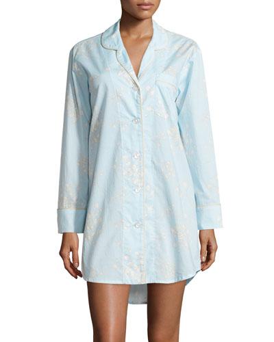 Floral-Print Voile Long-Sleeve Sleepshirt, Blue