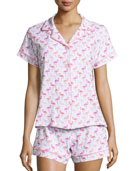 Flamingos Knit Shorty Pajama Set