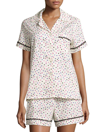 Ticker Tape Short Poplin Pajama Set