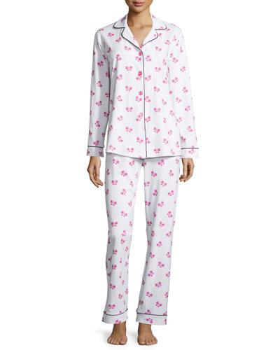 Butterfly-Print Classic Pajama Set