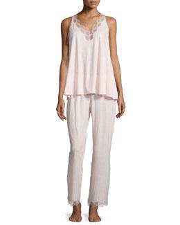 Tranquility Lace-Trim Tank Pajama Set, Rose