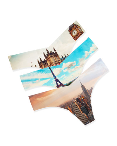 Travel-Print 3-Piece Thong Set