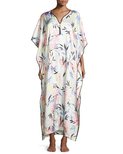 Fern-Printed Charmeuse Zip Caftan
