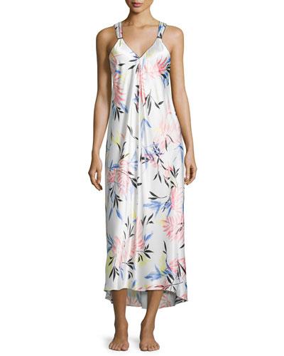 Fern-Print Charmeuse Satin Gown