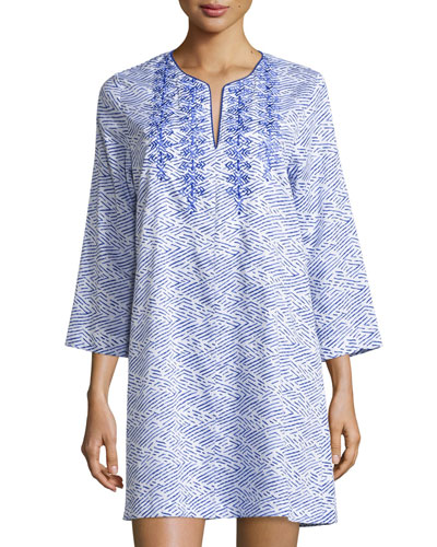 Geo-Printed Sleepshirt with Embroidery, Blue Linear Print