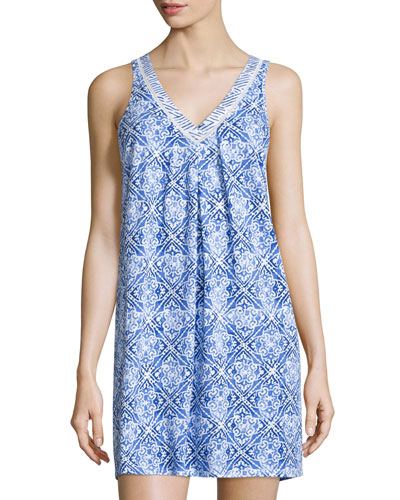 Blue Tile Printed Jersey Chemise, Blue Print