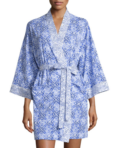 Blue Tile Printed Short Robe, Blue Print