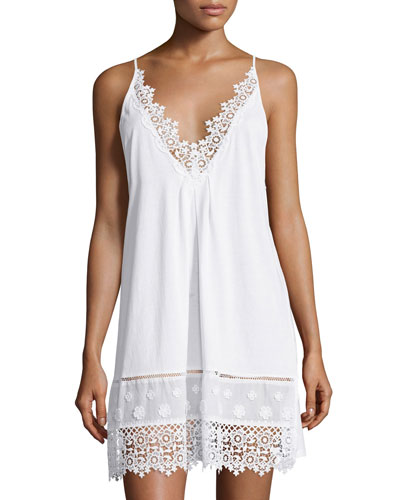 Floral-Embroidered Sleeveless Jersey Chemise, White
